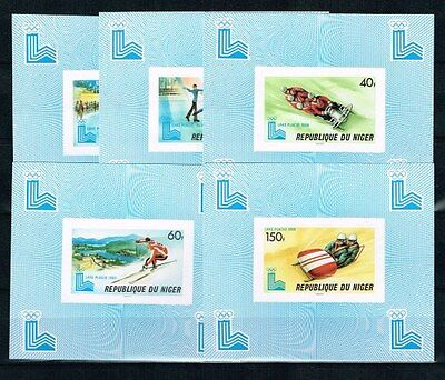 Niger. Winter.Olympics Games 1980.5 Imperforated Blocks.MNH.**