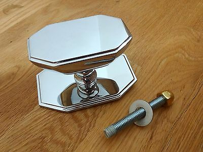 Large Chrome Art Deco Front Door Center Knob Handle Centre