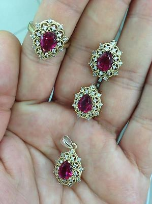 925 Sterling Silver Handmade Jewelry Fabulous / Pinkish Red Ruby Lady Sets