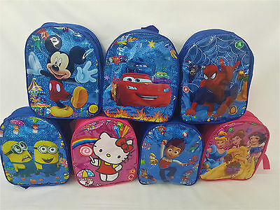 Children's Character Backpack Pre School Nursery Bag Kids Toddlers Glitter Shiny