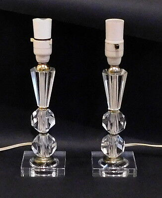 A Pair of Vintage Cut Crystal Lamp Bases