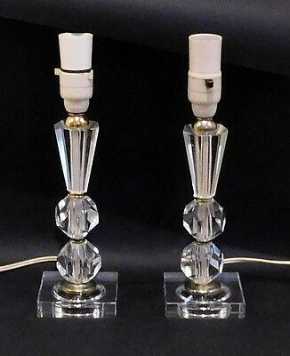 Pair of Vintage Cut Crystal Lamp Bases with shades