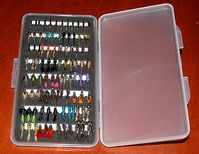 SupaSlim Fly Box + Mixed Trout/Grayling Flies Wet Dry Nymph Buzzers 10 25 50 100