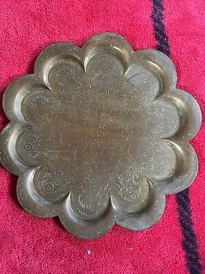 Vintage old Antique Persian Islamic Arabic Brass Serving Table Tray