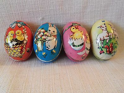 LOT OF 4 VINTAGE TIN LITHO EASTER EGGS Candy Containers DECORATIONS Hong Kong #2