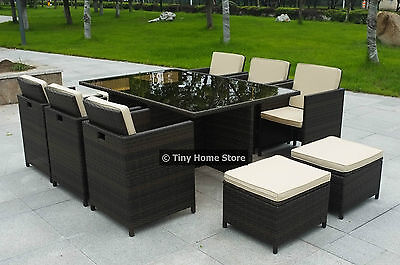 NEW Cube Rattan Dining Set Garden Furniture Patio Conservatory Wicker Outdoor