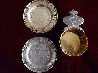 19th Century Russian church sterling silver patens-rare