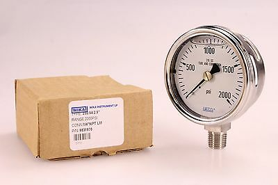 "WIKA Industrial Pressure Gauge Liquid-Filled 2000 PSI 233.54 2.5"" 1/4"" Threading"