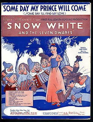 Snow White Sheet Music-1937-Some Day My Prince Will Come-Walt Disney