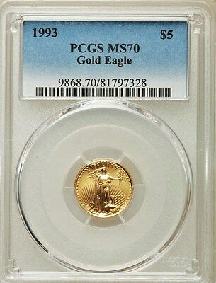 Perfect!!! Finest Known !!! 1993 $5 Gold Eagle Pcgs Ms70 Pop 25 None Finer