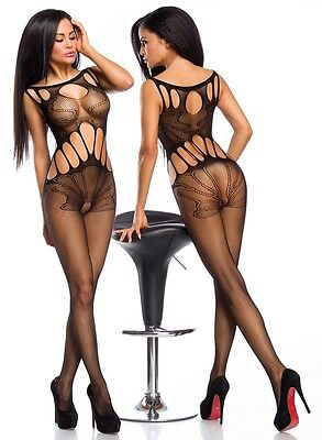 Sexy Netz Bodystocking Cutouts Stretch Body Stocking Netzoverall Overall Catsuit