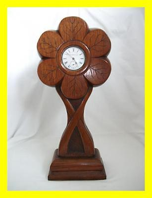 Rare Art Nouveau C.1900 Oak Pocket Watch Stand, 32 Cm Tall,stylised Flower
