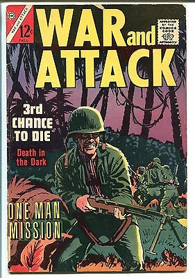 WAR AND ATTACK #1 1964-CHARLTON-1ST ISSUE-KELLY WOOD ART-vg