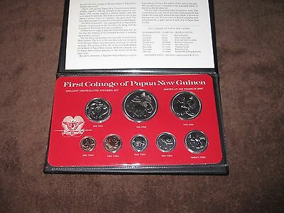 1975 First Coinage of Papua New Guinea 8 Coin Uncirculated Set Franklin Mint