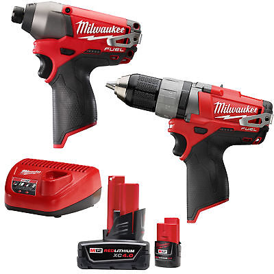 M12 FUEL 2-Tool Drill/Driver & Impact Combo Kit Milwaukee 2594-22 New
