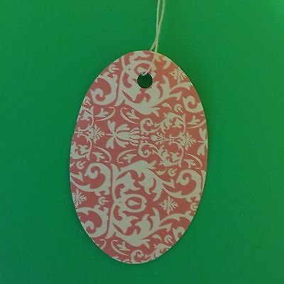 """100 1 1/2x 1"""" Pink Dasmask Oval print price tags with string"""