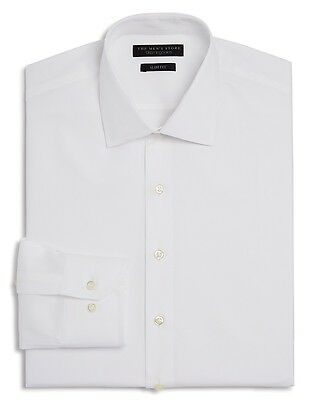 $225 BLOOMINGDALES Men SLIM-FIT WHITE BUTTON TEXTURED DRESS SHIRT 16.5 34/35 L