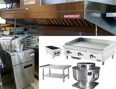 6FT Food Truck Exhaust Hood with 3FT Propane Griddle, Stand and Fryer
