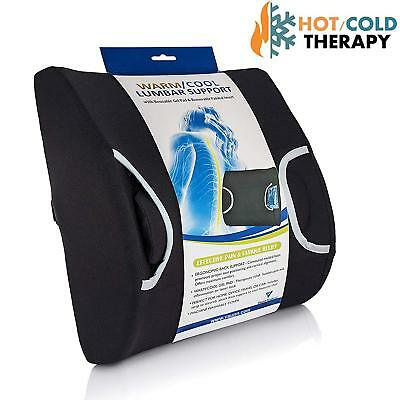 Vaunn Medical Lumbar Back Support Cushion Pillow with Warm/Cool Gel Pad Therapy