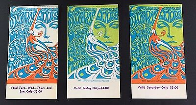 "Set of Three Vintage Tickets for ""The Doors"" and ""Yardbirds"" (The Fillmore, SF)"