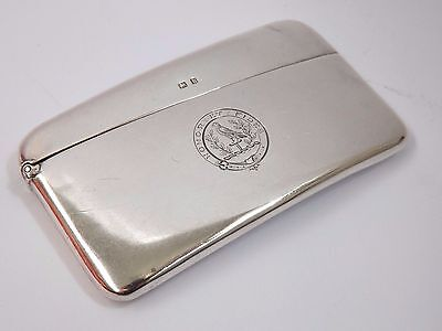 Antique Edwardian Silver Card Case - Hay of Kinnoull Family Crest? - B'ham 1907