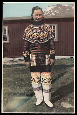 COLORFUL INUIT INDIAN BEADED OUTFIT & BOOTS GIRL~ 1930s VINTAGE 5x7 TINTED PHOTO