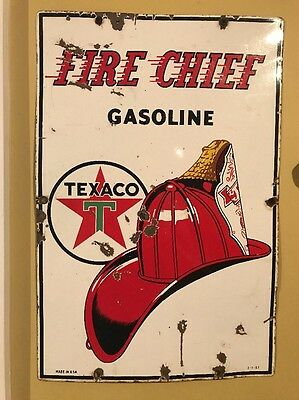 Original 1957 Texaco Fire Chief Gasoline Oil Sign Porcelain