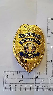 GOLD Concealed Weapon Carry Permit Metal Badge Shield CCW pistol gun police swat