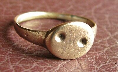 Ancient Artifact > Medieval Bronze Finger Ring SZ: 8 US 18mm 14764 DR