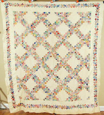 OUTSTANDING Vintage 30's Irish Chain Postage Stamp Antique Quilt Top ~SM. PIECES