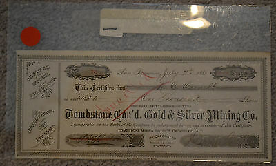 1881 Tombstone Gold & Silver Mining Co, 1000 shares, stock certificate #73
