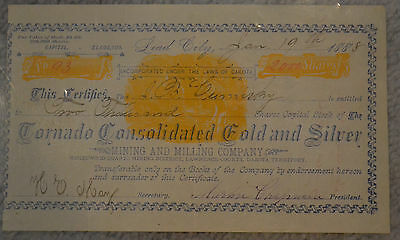 1888 Tornado Consolidated Gold & Silver, Lawrence County, Dakota Territory 2000