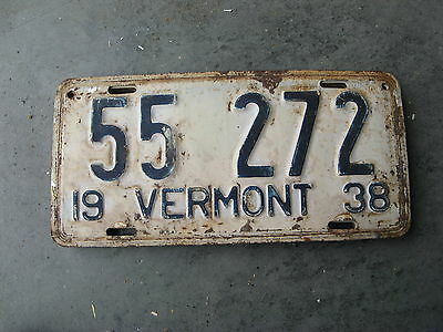 1938 38  Vermont Vt License Plate Nice Rustic Antique 55272