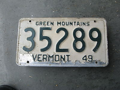 1949 49 Vermont Vt License Plate Nice Green Mountains Slogan 35289