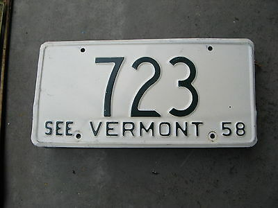 1958 58 Vermont Vt License Plate Nice Tag #723 Three Digit Low Number