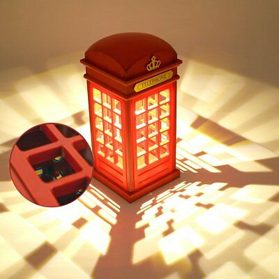 Hot Vintage London Red Telephone Booth Figure Lamp Desk Night Light LED Lamp USB