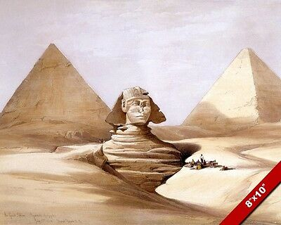 The Great Sphinx & Pyramids Of Egypt Desert Sand Canvas Giclee 8X10 Art Print