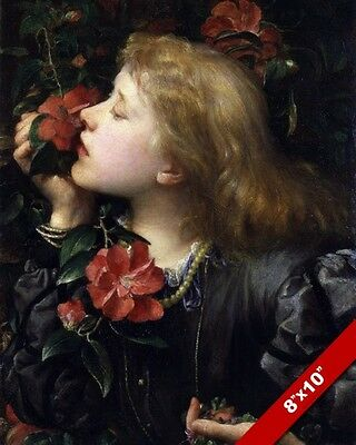 Child Smelling Roses Flowers Fine Art Painting Real Canvas Giclee 8X10 Print