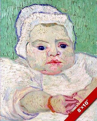 Roulin'S Baby Vincent Van Gogh Painting Green Dutch Art Real Canvas Print