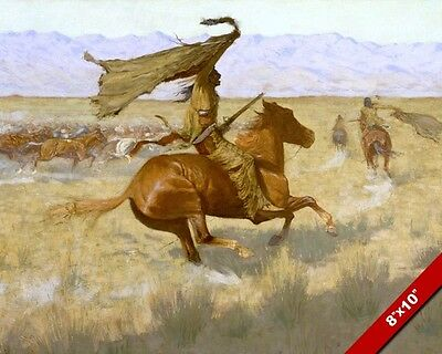 Native American Indians Horse Western Remington Oil Painting Art Print On Canvas