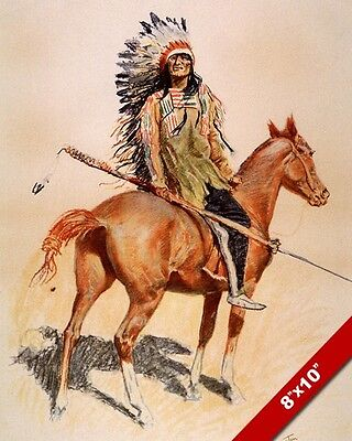 Sioux Indian Chief W Horse Native American Oil Painting Art Print On Real Canvas
