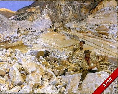 Workers In The Marble Quarry Italy Oil Painting Art Poster Print On Real Canvas