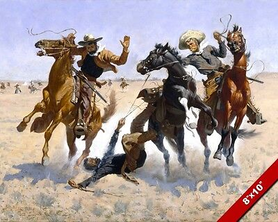 Cowboys Accident American West Remington Oil Painting Art Print On Real Canvas