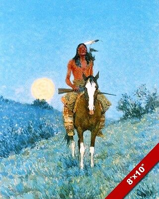 Outlier Native American Indian & Moon Remington Art Oil Painting Canvas Print