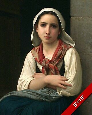 Beautiful Young Woman Girl By Bouguereau Oil Painting Art Real Canvas Print