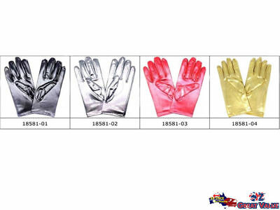 Short Metallic Gloves Shiny Glove Weddings Fancy Dress Disco Party Costume 18581