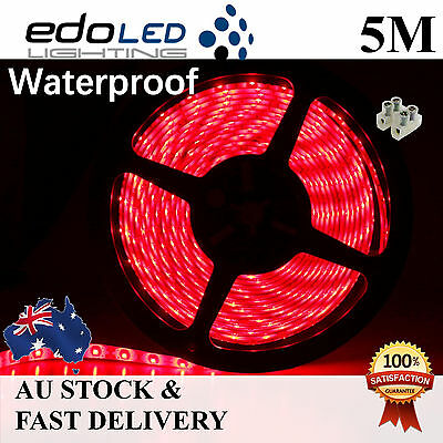 12V red Waterproof Flexible LED Strip Lights 5M 300 LED 2835 SMD Light car boat