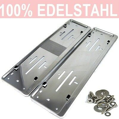 2 x license plate holder in Stainless steel polished for Austria Number 52x12cm