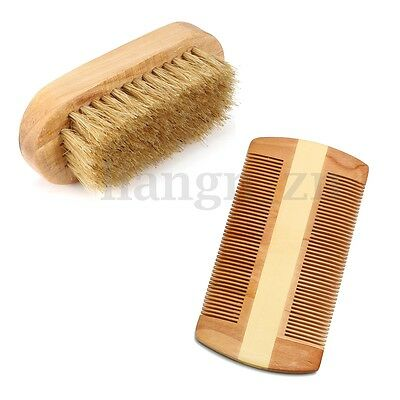 The beard brush and moustache comb set natural wood Gift Set