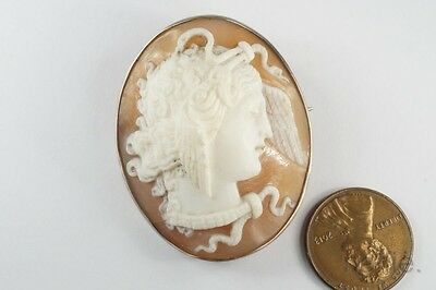 ANTIQUE VICTORIAN ERA SILVER FINELY CARVED MEDUSA CAMEO BROOCH c1880